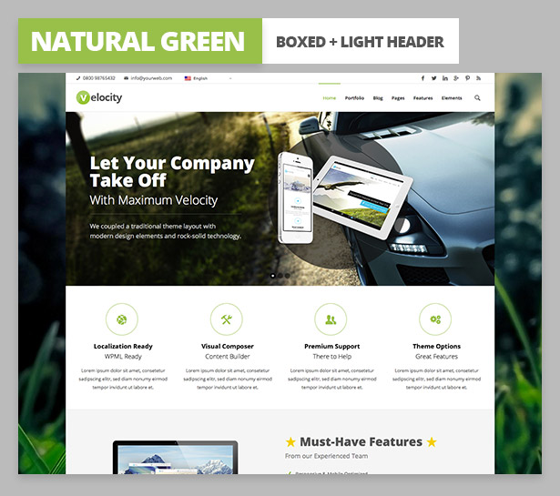 velocity desciption variant5 Velocity Responsive Multi Purpose WordPress Theme (Business)