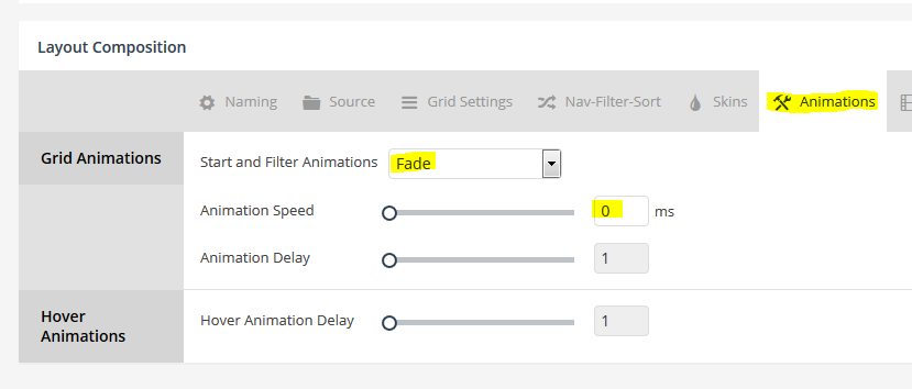 Disable initial animation for grid when page first loads