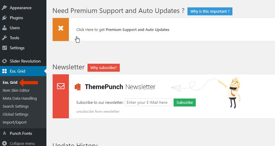 Activate your copy of Essential Grid – ThemePunch