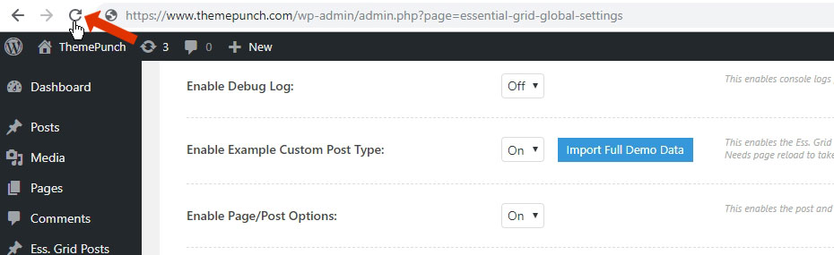 Importing Demo Contents for ESG Templates – ThemePunch