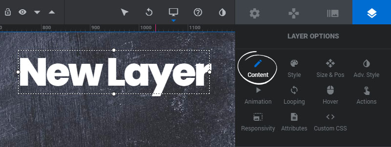 layer content settings